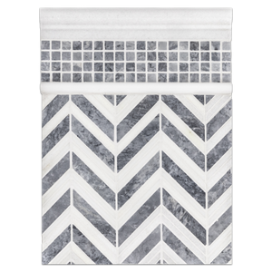 "Concept Board Collection - CB1094 - White Thassos and Pacific Gray Chevron Mosaic Polished with Pacific Gray 5/8"" x 5/8"" Mosaic Honed and White Thassos Moldings Polished Board"