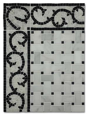 Concept Board Collection - CB1095 - Pearl White Basketweave with Black Dot and Wave Border - Elon Tile