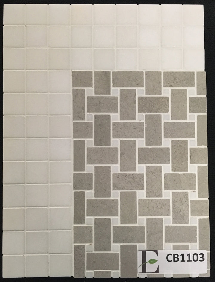 "Concept Board Collection - CB1103 - Sand Dollar Basketweave with 3/8"" White Absolute Dot Mosaic Polished with White Thassos 2"" x 2"" Mosaic Polished Board - Elon Tile"