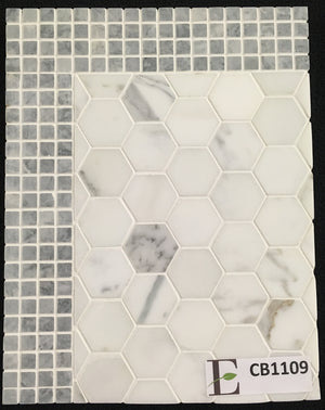 "Concept Board Collection - CB1109 - Calacatta 2"" Hexagon Honed with Pacific Gray 5/8"" Border Honed - Elon Tile"