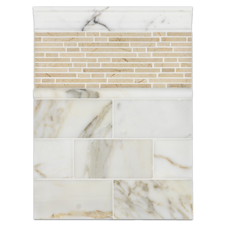 "Concept Board Collection - CB1111 - Calacatta 3"" x 6"" Polished with Crema Marfil Mini Random Strip Mosaic Polished and Calacatta Moldings Polished"