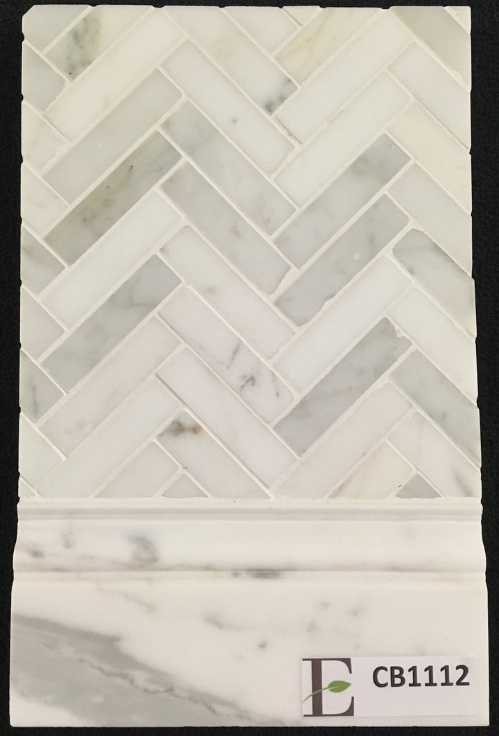 "Concept Board Collection - CB1112 - Calacatta 1"" x 4"" Herringbone Mosaic Polished with Calacatta Base Molding Polished Board - Elon Tile"