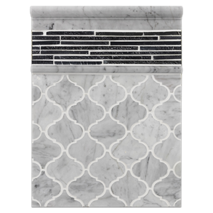 "Concept Board Collection - CB1124 - Bianco Carrara 3"" Lantern Mosaic Polished with Midnight Mini Random Strip Mosaic Cleft and Carrara Moldings Polished Board - Elon Tile"