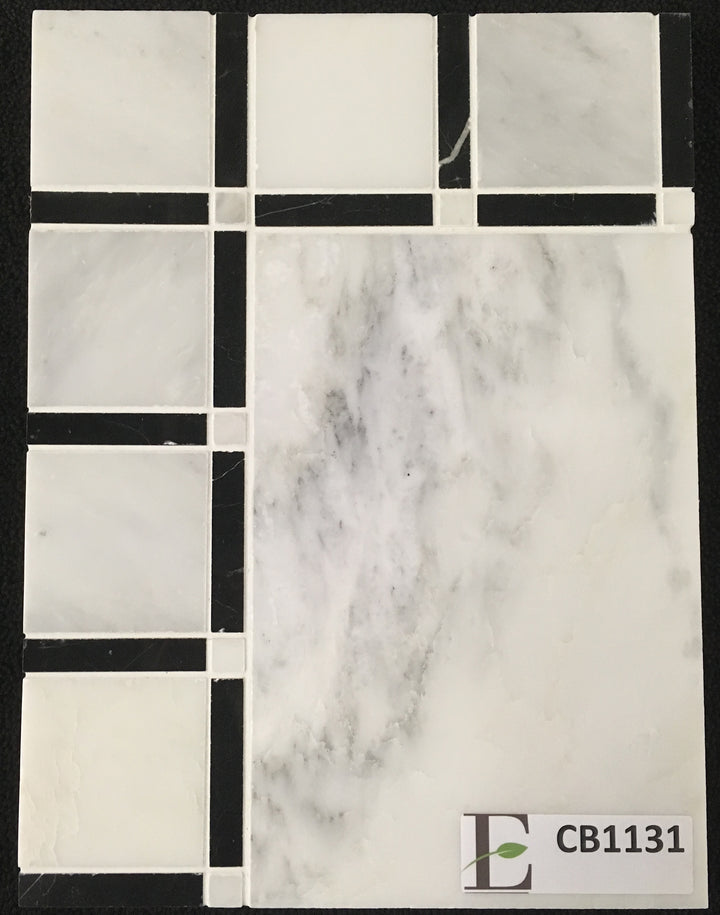 "Concept Board Collection - CB1131 - Pearl White 12"" with Grande Square Pearl White with Black Border Polished - Elon Tile"