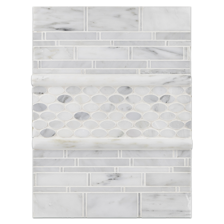 Concept Board Collection - CB1132 - Pearl White Multi-Width Mosaic Polished with Pearl White Oval Mosaic Polished and Pearl White Pencil Moldings Polished
