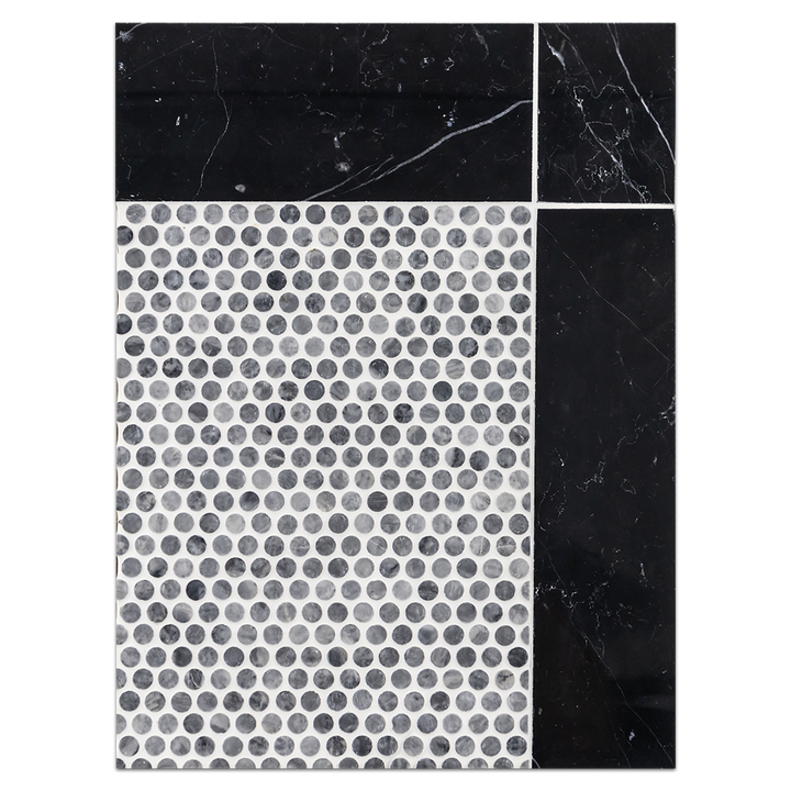 "Concept Board Collection - CB1141 - Pacific Gray 1/2"" Rounds Mosaic Polished with Black 4"" x 12"" Border Polished"