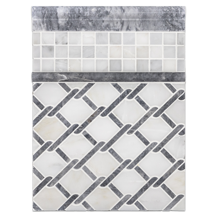 "Concept Board Collection - CB1143 - Pearl White with Pacific Gray Argyle Mosaic Polished with Pearl White 1"" x 1"" Mosaic Polished and Pacific Gray Moldings Polished Board"