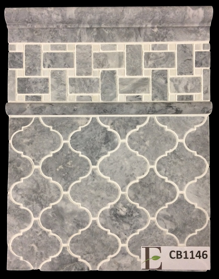 "Concept Board Collection - CB1146 - Pacific Gray 3"" Lantern with Pacific Gray Basketweave with White Dot Mosaic and Moldings Board - Elon Tile"
