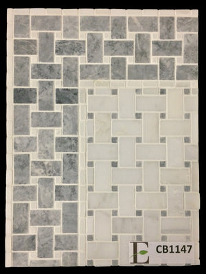 "Concept Board Collection - CB1147 - Pearl White Basketweave with 3/8"" Pacific Gray Dot Mosaic Honed with Pacific Gray Basketweave with 3/8"" White Absolute Dot Border and Corner Mosaic Honed - Elon Tile"