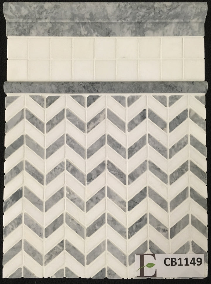 "Concept Board Collection - CB1149 - Pacific Gray with White Thassos Petite Chevron Mosaic Polished with White Thassos 2"" x 2"" Mosaic Polished and Pacific Gray Moldings Polished Board - Elon Tile"