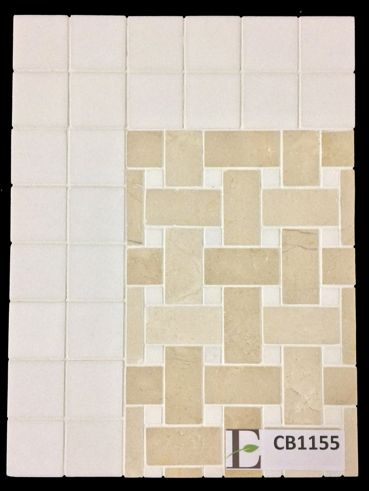 "Concept Board Collection - CB1155 - Crema Marfil Basketweave with 3/8"" White Thassos Dot Mosaic Polished with White Thassos 2"" x 2"" Mosaic Polished - Elon Tile"