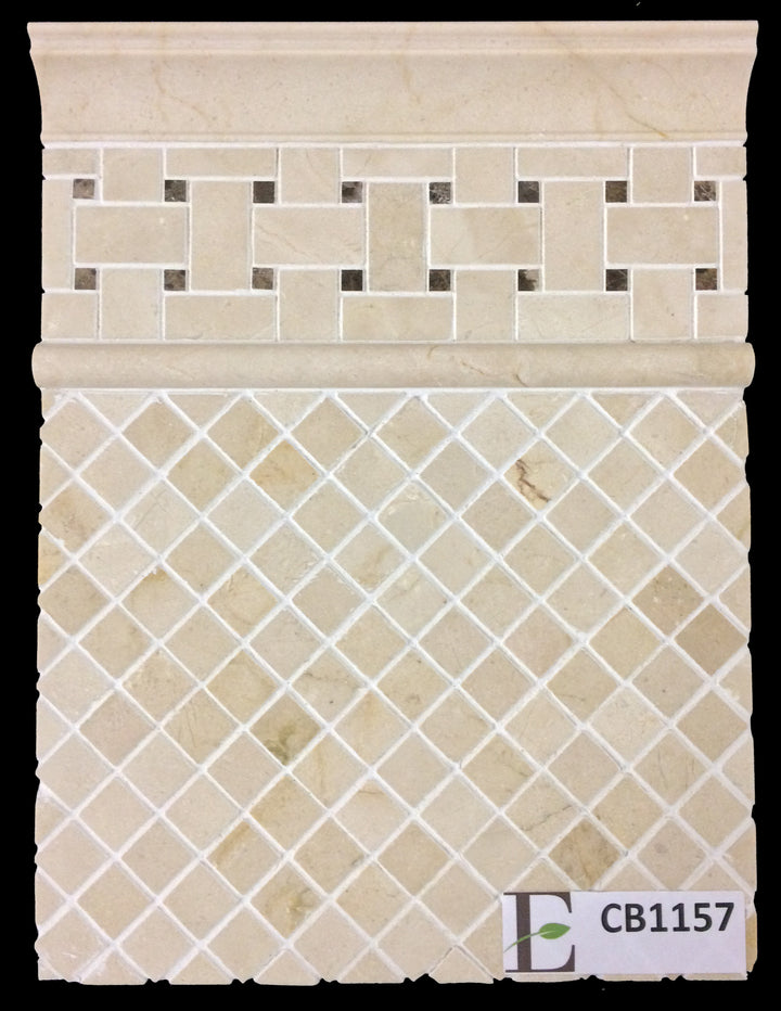 "Concept Board Collection - CB1157 - Crema Marfil 1"" x 1"" Mosaic Polished with Crema Marfil Basketweave with 3/8"" Dark Emperador Dot Mosaic Polished and Crema Marfil Moldings Polished Board - Elon Tile"