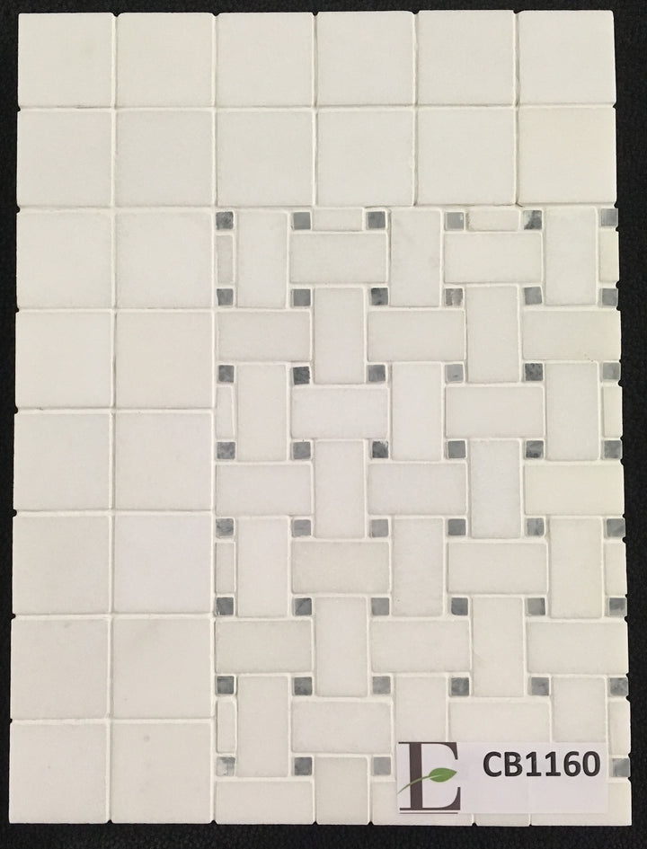 "Concept Board Collection - CB1160 - White Thassos Basketweave with 3/8"" Pacific Gray Dot Mosaic Polished with White Thassos 2"" x 2"" Mosaic Polished Board - Elon Tile"
