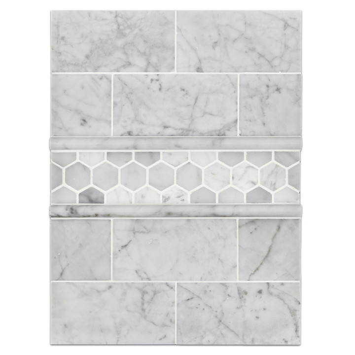 "Concept Board Collection - CB1176 - Carrara 3"" x 6"" with 1 1/4"" Hexagon"