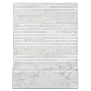 Concept Board Collection - CB1177 - White Absolute Random Strip Mosaic Split Face/Polished with Bianco Carrara Base Molding Polished Board