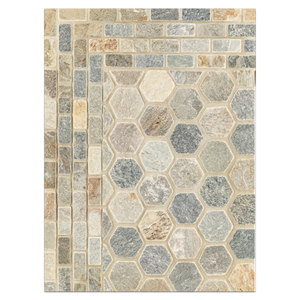 "Concept Board Collection - CB1179 - Golden Sand 2"" Hexagon Mosaic Tumbled with Golden Sand Offset Brick Mosaic Tumbled Board"