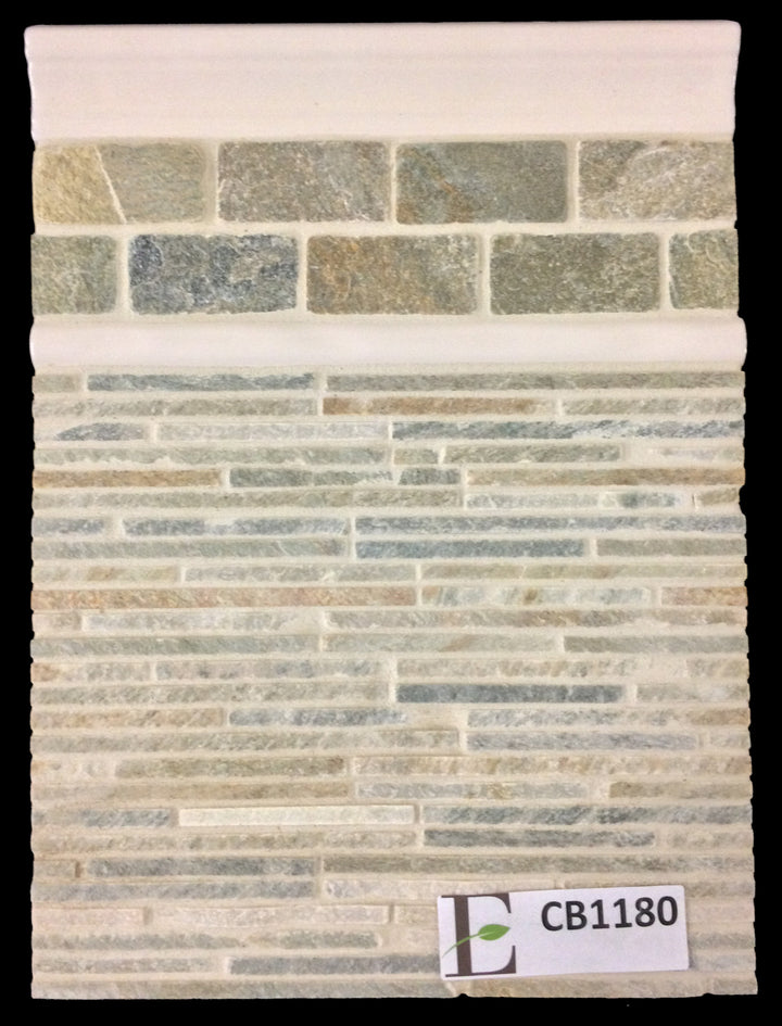 "Concept Board Collection - CB1180 - Golden Sand Mini Random Strip Mosaic Cleft with Golden Sand 1.5"" x 3"" Brick Mosaic Tumbled and Opal Ivory Moldings Board - Elon Tile"