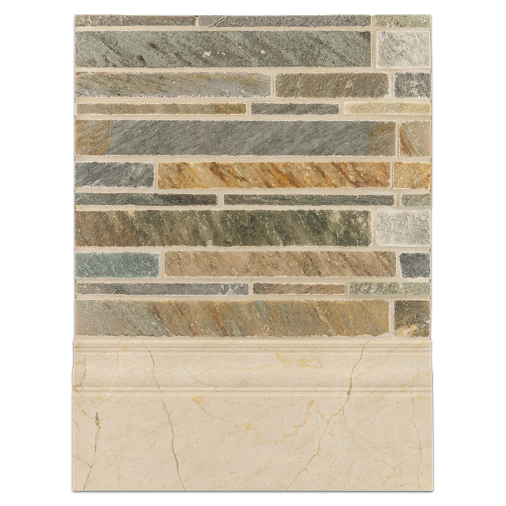 Concept Board Collection - CB1181 - Golden Sand Random Strip Mosaic Cleft with Crema Marfil Base Molding Honed