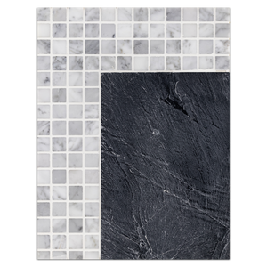 "Concept Board Collection - CB1186 - Midnight 12"" with Carrara 1"" x 1"""