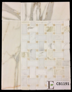 "Concept Board Collection - CB1191 - Calacatta Basketweave with Crema Marfil Dot Honed and Calacatta 3"" x 12"" Border Honed - Elon Tile"