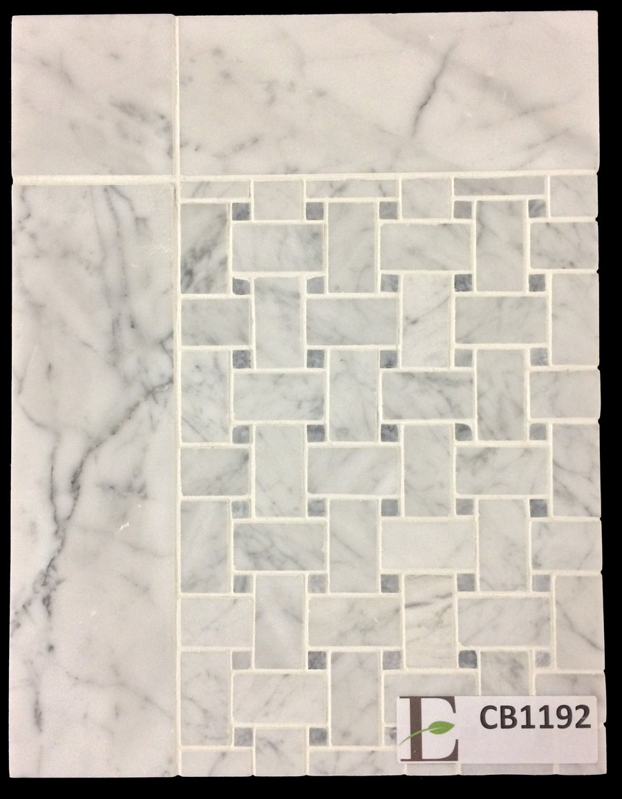 "Concept Board Collection - CB1192 - Carrara Basketweave with Pacific Gray Dot with Carrara 3"" x 12"" Border Honed - Elon Tile"