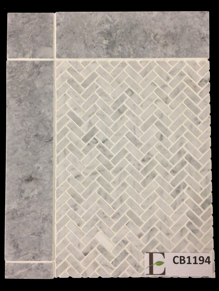 "Concept Board Collection - CB1194 - Carrara Micro Herringbone with Pacific Gray 3"" x 12"" - Elon Tile"