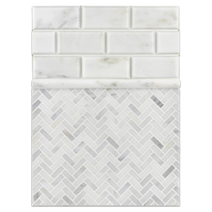 "Concept Board Collection - CB1196 - Pearl White Micro Herringbone with Pearl White 2"" x 4"" Beveled and Pearl White Petite Pencil Molding Honed Board"
