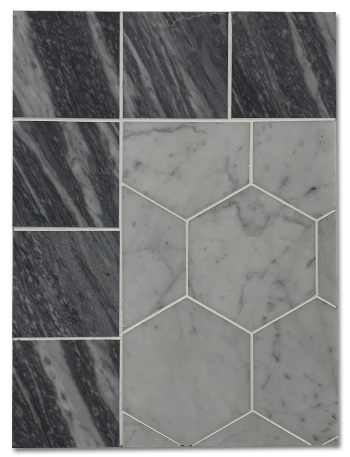 "Concept Board Collection - CB1215 - Carrara 5"" Hexagon with Bardiglio Nuvolato 4"" Border - Elon Tile"