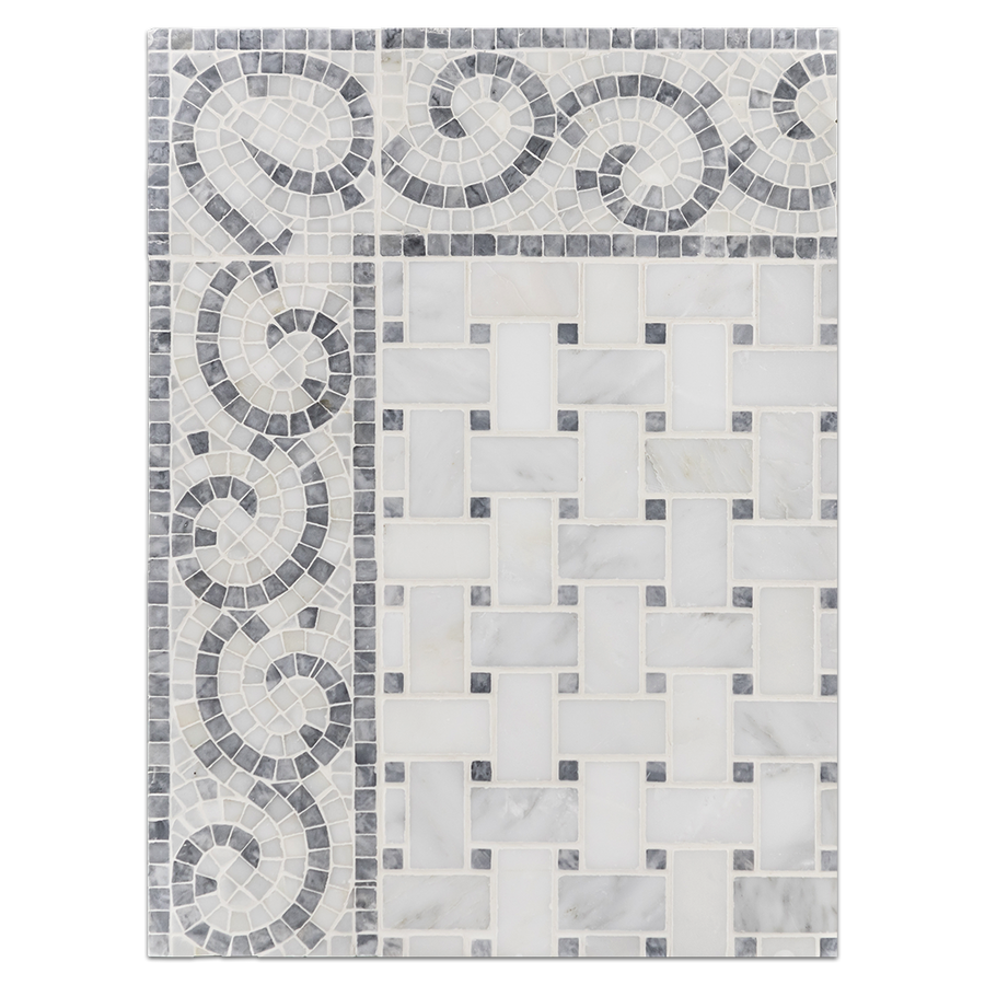 "Concept Board Collection - CB1217 - Pearl White Basketweave with 3/8"" Pacific Gray Dot Mosaic Honed with Pacific Gray with Pearl White Wave Border Honed Board"