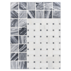 "Concept Board Collection - CB1218 - Dolomite Basketweave with 3/8"" Bardiglio Dot Mosaic Honed with Bardiglio Nuvolato 2"" x 2"" Mosaic Honed Board"