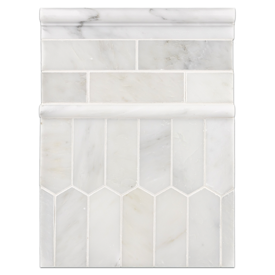 "Concept Board Collection - CB1221 - Pearl White 2"" x 6"" Mosaic Honed with Pearl White 2"" x 6"" Picket Mosaic Honed and Pearl White Moldings Honed"