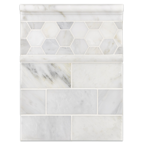 "Concept Board Collection - CB1222 - Pearl White 3"" x 6"" Honed with Pearl White 2"" Hexagon Mosaic Honed and Pearl White Moldings Honed Board"