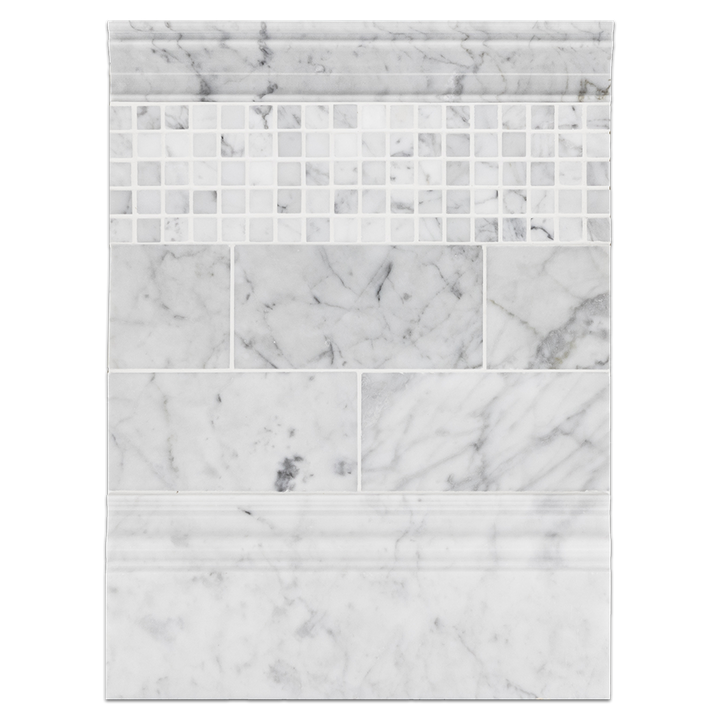 "Concept Board Collection - CB1223 - Bianco Carrara 3"" x 6"" Polished with Bianco Carrara 5/8"" x 5/8"" Square Mosaic Polished and Carrara Moldings Board"