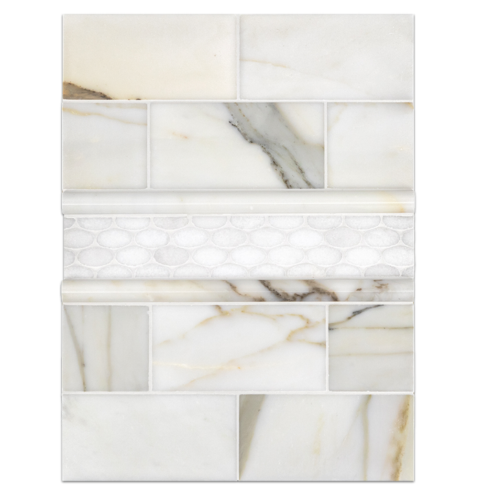 "Concept Board Collection - CB281 - Calacatta 3"" x 6"" Polished with White Thassos Oval Mosaic Polished and Calacatta Pencils Board"