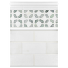 "Concept Board Collection - CB525 - White Thassos 3"" x 6"" Polished with White Thassos Fleur with Honey Onyx Mosaic Polished and White Thassos Moldings Polished"
