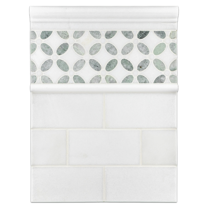 "Concept Board Collection - CB525 - White Thassos 3"" x 6"" Polished with White Thassos Fleur with Honey Onyx Mosaic Polished and White Thassos Moldings Polished - Elon Tile"