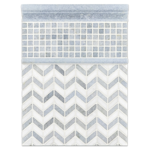 "Concept Board Collection - CB543 - Blue Celeste with White Thassos Petite Chevron Mosaic Polished with Blue Celeste 5/8"" x 5/8"" Mosaic Polished and Blue Celeste Polished Moldings Board"