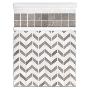 "Concept Board Collection - CB546 - Sand Dollar Petite Chevron Mosaic Polished with 1 1/4"" Square and White Thassos Moldings Polished Board"
