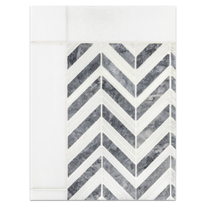 "Concept Board Collection - CB547 - Pacific Gray with White Thassos Chevron Mosaic Polished with White Thassos 3"" x 12"" Polished Board"