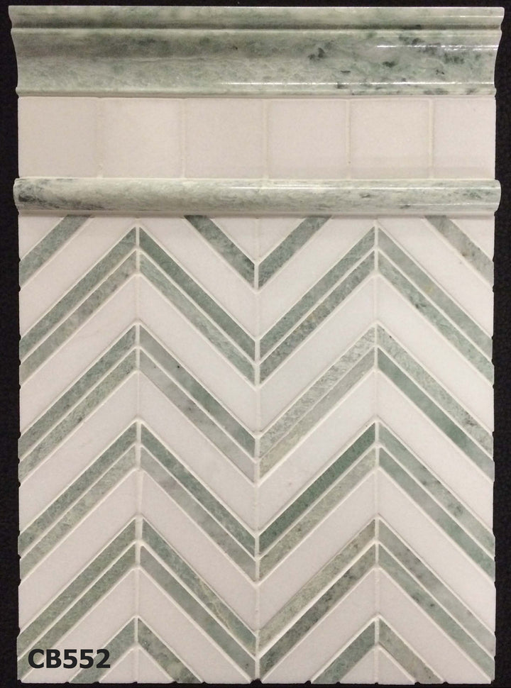 "Concept Board Collection - CB552 - Ming Green with White Thassos Chevron Mosaic Polished with White Thassos 2"" x 2"" Mosaic Polished and Ming Green Moldings Board - Elon Tile"