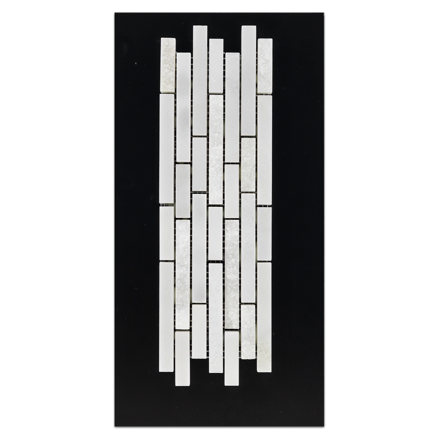 CC101 - White Absolute Split Face Mosaic  Polished/Split Card - Elon Tile