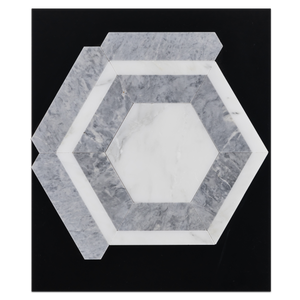 CC104 - Pearl White Honeycomb with Pacific Gray Mosaic Honed Card - Elon Tile