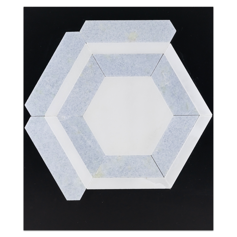 CC107 - White Absolute Honeycomb with Blue Celeste Mosaic Honed Card - Elon Tile