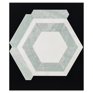CC108 - White Absolute Honeycomb with Ming Green Mosaic Honed Card - Elon Tile
