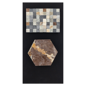 "CC112 - Rustic Multicolor Slate 5"" Hexagon Mosaic Cleft and Golden Sand/Black/Rustic Checkerboard Tumbled Card - Elon Tile"