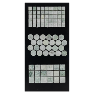 "CC18 - Ming Green 5/8"" Square Mosaic Polished and 1"" Rounds Mosaic Polished and 1"" Square Mosaic Polished Card - Elon Tile"
