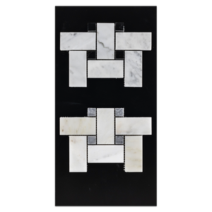 "CC24 - Bianco Carrara with 5/8"" Black Dot Mosaic Basketweave Polished and Pearl White with 5/8"" Pacific Gray Dot Mosaic Basketweave Polished Card - Elon Tile"