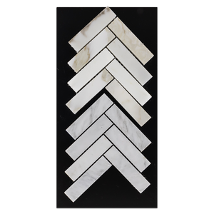 "CC33 - Calacatta 1"" x 4"" Herringbone Mosaic Polished and Mystic Grey 1"" x 4"" Herringbone Mosaic Polished Card - Elon Tile"