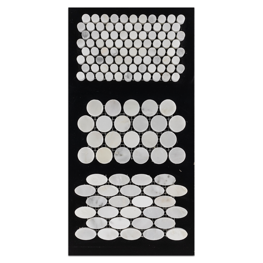 "CC34 - Pearl White 1/2"" Rounds Mosaic Polished and 1"" Rounds Mosaic Polished and Oval Mosaic Polished Card - Elon Tile"