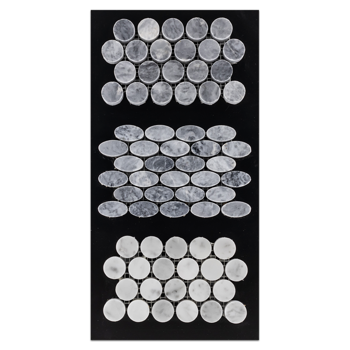 "CC36 - Pacific Gray 1"" Rounds Mosaic Polished and Oval Mosaic Polished and Bianco Carrara 1"" Rounds Mosaic Polished Card - Elon Tile"